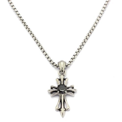 2 PIECE SET: Vintage 19-Inch Stainless Steel Rolo Chain Necklace With Black Gemstone Inlaid Cross Pendant (LIFETIME WARRANTY)