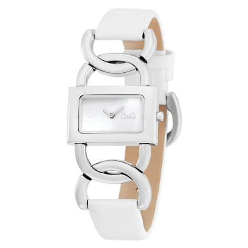 D & G DW0563 Women's Analog Quartz Watch with White Leather Strap