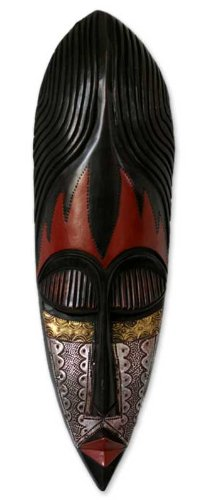 NOVICA Decorative Nigerian Large Wood Mask, Black 'Fulani Maiden'