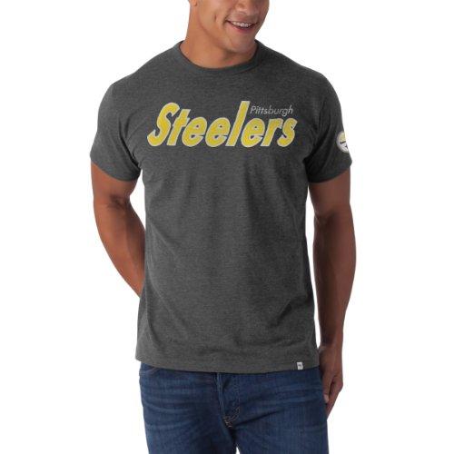 Nfl Pittsburgh Steelers Men'S Fieldhouse Basic Tee, Medium, Blacktop Grey front-916914