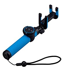 Momax Selfie Stick,Foldable Extendable Wireless Bluetooth Gesture Recognition Monopod for iPhone 5,5s,6,6s,6plus (Blue)