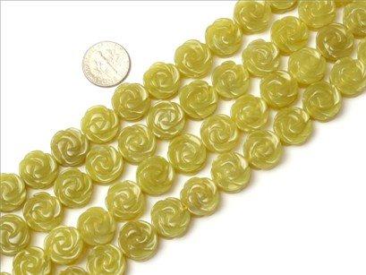 14mm flower shape gemstone lemon stone beads strand 15