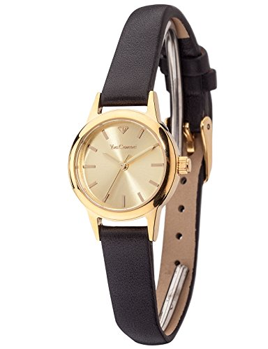 Yves Camani Gardanne Women's Quartz Watch with Gold Dial Analogue Display and Black Leather Bracelet Yc1076-B