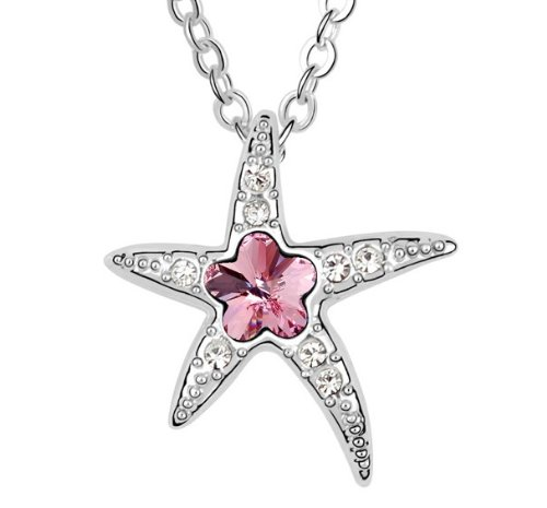Purplelan-Austrian Crystal Rhinestoneslight Rose Sea Star Necklace Fahsion Jewlery 18Inch Necklace At2648
