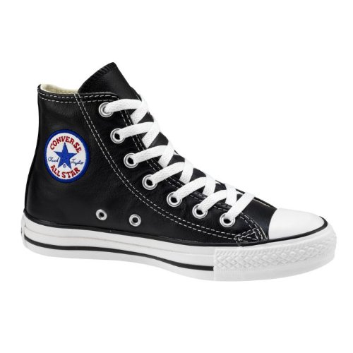 Converse Converse Chuck Taylor All Star Hi Top Black Leather Shoes with Extra Pair of Grey Laces men's 5.5/ women's 7.5