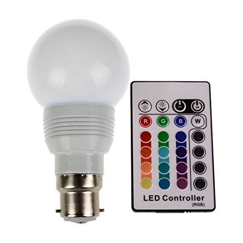 Sungetace Rgb Led Light Bulb Pp White Case 3W B22 Multi-Color Ir Wireless Remote Control Ac85~265