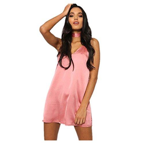Women's Satin Chocker Spaghetti Strap Mini Dress (S, Pink) (Spaghetti Strap Satin Dress compare prices)