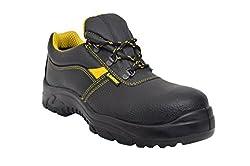 Lancer 103LA Men's Safety Shoe with Steel Toe Cap, Size-10 UK, Black