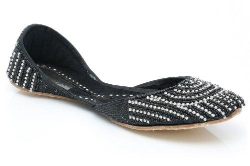 Cheap Unze Women Diamante Pattern Handmade Leather Sequin Indian Khussa Evening, Party Pump – 5500l (B0058FWV2M)