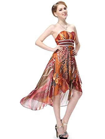 HE06091BR06, Brown, 4US, Ever Pretty Padded High Low Printed Empire Waist Ruffles Fashion Summer Dress 06091