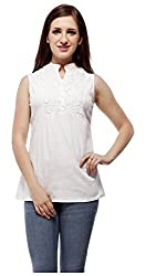 Peptrends Women's Top (TO15082WH_L, White, L)