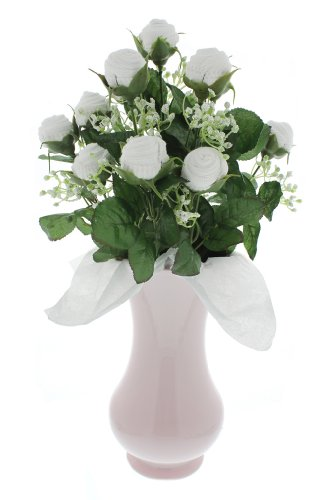 Girl'S Small Bootie Bloom - White Socks - Pink Vase
