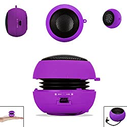PURPLE 3.5mm Audio Jack Portable Plug and Play Hamburger Rechargeable Mini Wired Speaker For BLACKBERRY CURVE 9220 Mobile Cellular Cell Phone