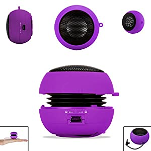 PURPLE 3.5mm Audio Jack Portable Plug and Play Hamburger Rechargeable Mini Wired Speaker For SAMSUNG GALAXY S DUOS 2 S7582 Mobile Cellular Cell Phone available at Amazon for Rs.349