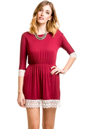 Lace Edge Dress in Burgundy
