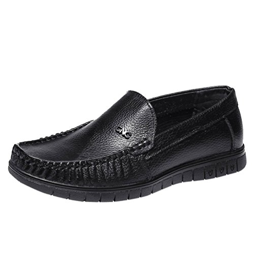 Freerun Men's Slip-on Sewing Casual Seasons Male Leather Loafers (7.5 B(M)US,black) (Running Spike Plugs compare prices)