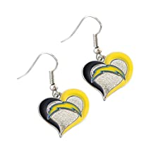 Aminco International NFL San Diego Chargers Sports Team Logo Swirl Heart Shape Dangle Earring Set