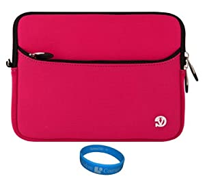 "Magenta VG Neoprene Sleeve Cover for Le Pan S S-BK 9.7-Inch Tablet / Le Pan II 9.7 inch Tablet / Le Pan TC970 Android 9.7 "" Tablet + SumacLife TM Wisdom Courage Wristband at Electronic-Readers.com"