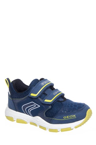 Geox Kid's Jr Torque Sneaker - Navy Fluorescent Yellow