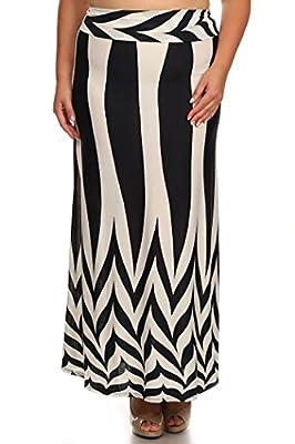 ColorMC Women's Plus Size Women's Floral Circle Print Long Maxi Knit Skirt