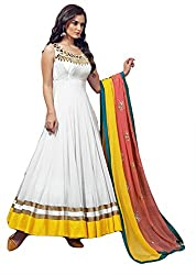 Justkartit women's White & Yellow Colour Fully Stitched Wedding wear Anarkali Style Gown / Readymade Wedding wear Anarkali Dress / Readymade Party Wear Gown (Ready To Wear Collection)