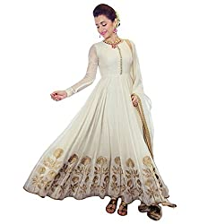 OMSAI FASHION Women's white Georgette Embroidery semi stitched Free Size Salwar Suit Dress Material (Women's trisha white Indian Clothing )