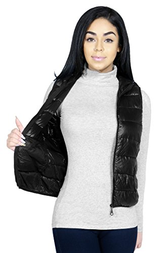 Casual Active Hooded Down Feather Light Weight Vest & Jacket For Women (LARGE, BLACK-J9721)