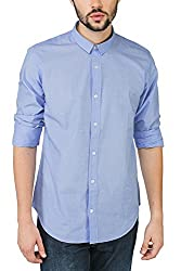 Bewakoof.com Sky Blue Slim Fit Full Sleeve Men's Casual Shirts