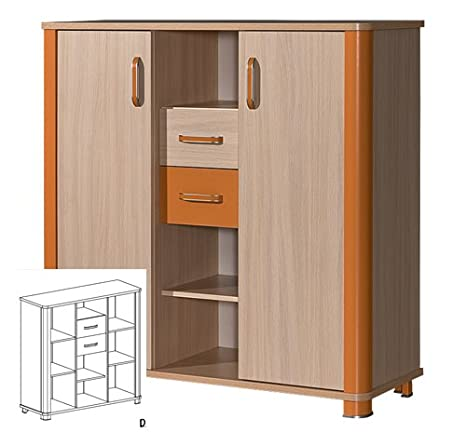 Highboard Kommode Anrichte Kinderzimmer eiche milchig orange