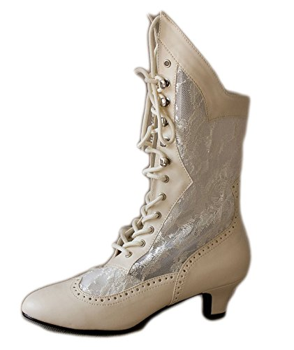 Beige-Vintage-Style-Lace-Up-Wedding-Bridal-Bohemian-Boho-Mid-Calf-Women-Boots