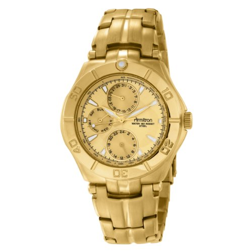 Armitron Men's 204224CHGP Gold-Tone Stainless Steel Multi-Function Dress Watch