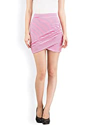 Hypernation Pink and White Color Stylish Stripped Mini Skirts For Women