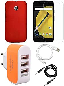 NIROSHA Tempered Glass Screen Guard Cover Case USB Cable Charger for Motorola E2 - Combo