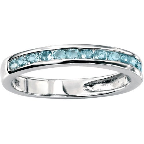 9Ct White Gold Blue Topaz Half Eternity Ring by Elements Gold