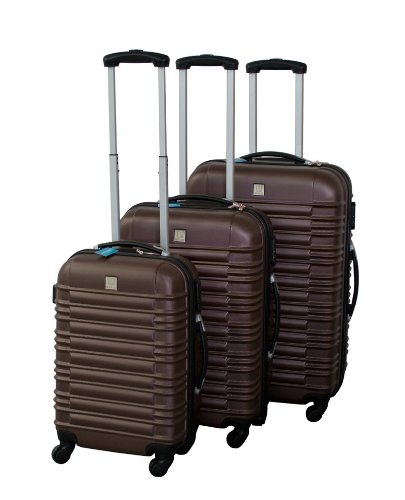 Polycarbonat ABS Trolley Koffer Set in braun