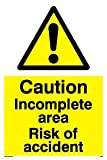 Caution Incomplete area Risk of accident - Warning Sign