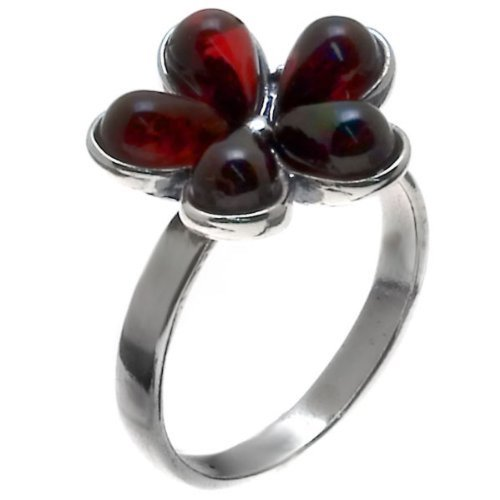 Cherry Amber And Sterling Silver Flower Ring Sizes 5,6,7,8,9,10,11,12