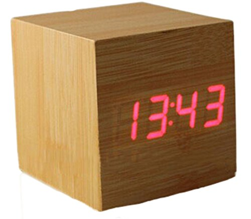 Makerfire Cube Mini Red Led Natural Wood Base Wooden Alarm Clock With Thermometer Time Display And Sound Activated