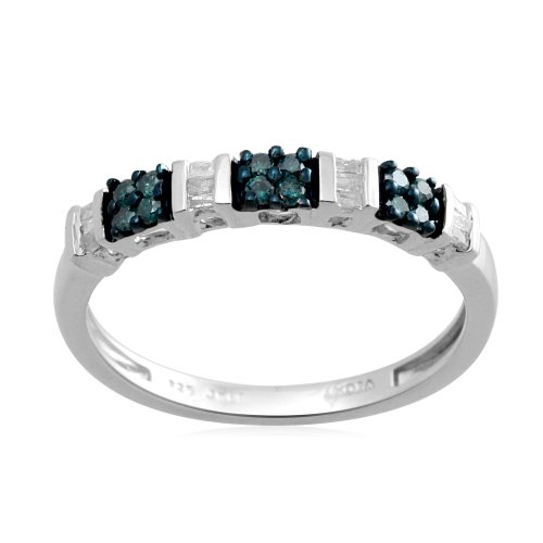 Sterling Silver Blue and White Diamond Anniversary Ring (1/5 Cttw, I-J Color, I3 Clarity), Size 8