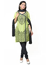 Utsav Fashion Women's Green Cotton Readymade Churidar Kameez-Small