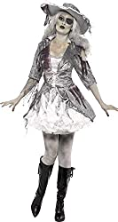 Smiffy's Women's Ghost Ship Pirate Treasure with Dress and Hat, Grey/White, Small
