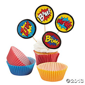 1 X Superhero Cupcake Picks and Baking Cups - 50 cups/50 picks by Bakery Supplies - 1