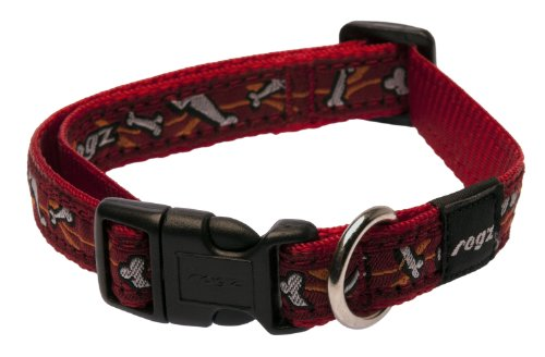 Rogz Scooter Collar, Bones on Red 16mm