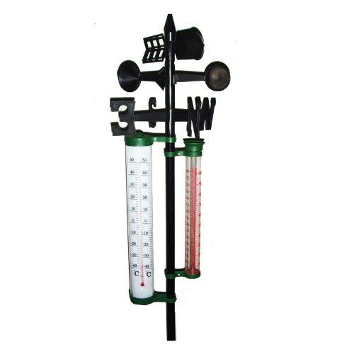 Wetterstation mit Thermometer Niederschlags u. Windmesser