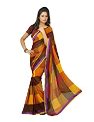 Indian Designer Wear Yellow & Brown Chiffon Printed Saree-LXASR381AAL