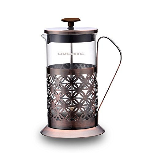 Ovente FSF34C 34oz Stainless Steel French Press Coffee Maker, Great for Brewing Coffee and Tea, 8 cup,Antique Copper