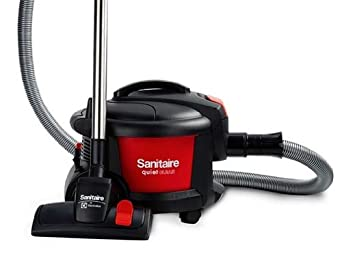 """Sanitaire EUKSC3700 Quiet Clean Canister Full-Size Vacuum, 9 Amps Power, 19-3/4"""" Length x 15-1/2"""" Width x 16"""" Height, Red/Black"""