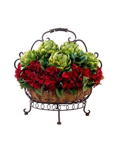 Creative Displays Artichoke & Hydrangea in Scroll Basket, Green/Burgundy/Brown