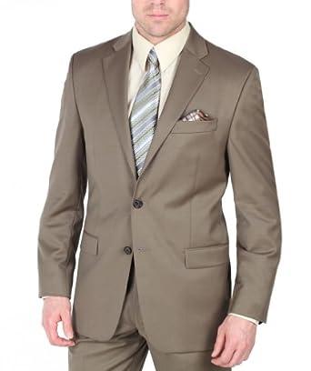 Ralph Lauren Tan 2 Button 2 Piece 100% Wool Elegant Notch Lapel Suit (36 Short)