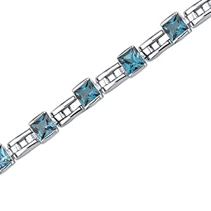 Charming Style: 6.00 carats total weight Princess Cut London Blue Topaz Gemstone Bracelet in Sterling Silver Rhodium Nickel Finish by peora